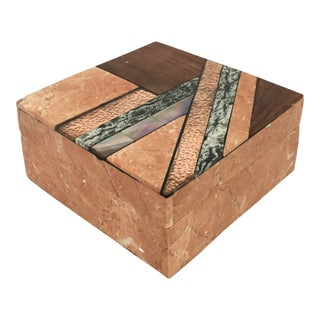 Tessellated Stone and Wood Inlay Box For Sale