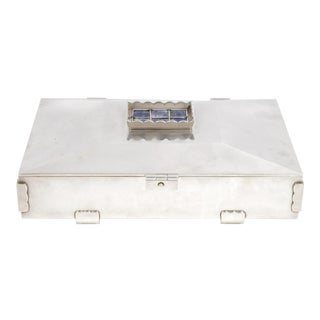 Silver Box With Lapis Lazuli Details by Sant'Elia, Circa 1950 For Sale