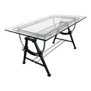 Industrial Modern Cast Iron Glass Top Desk Table For Sale
