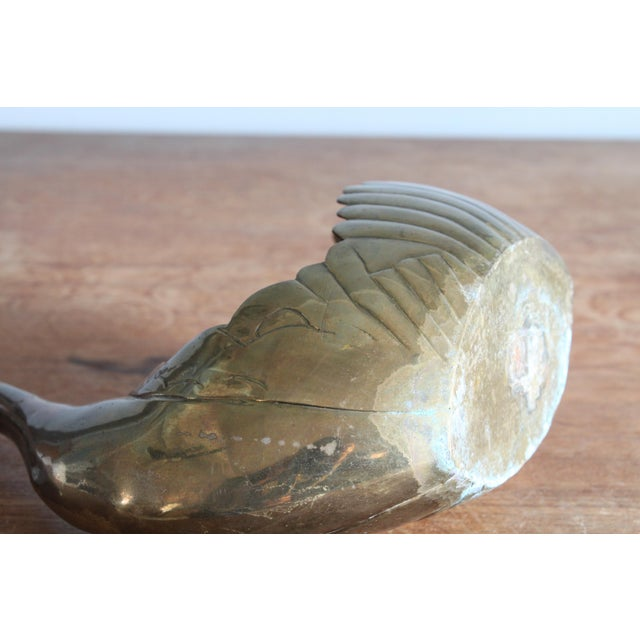 1960's Vintage Art Deco Brass Scalloped Swan Planter For Sale - Image 9 of 11