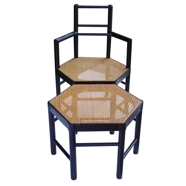 1940s Josef Hoffmann Style Hexagonal Chair & Ottoman Set For Sale - Image 5 of 10