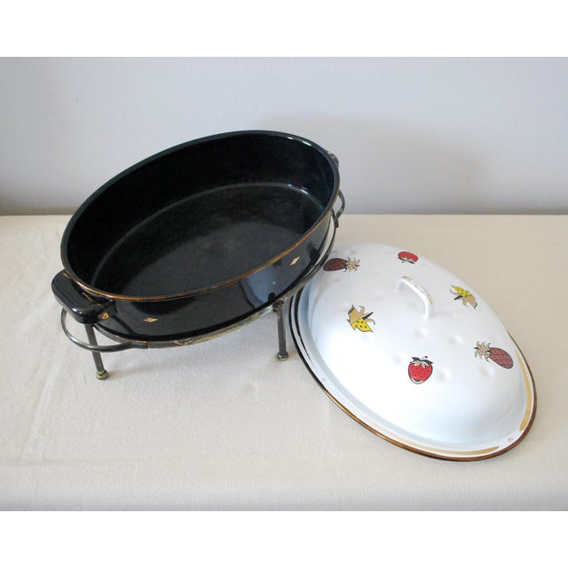 Mid 20th Century Mid-Century Georges Briard Enamel Roaster With Warming Stand For Sale - Image 5 of 6