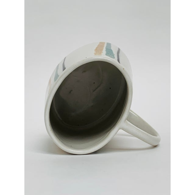 White 1960s Mid Century Modern Striped Oval Stoneware Mug From Bennington Potters For Sale - Image 8 of 13