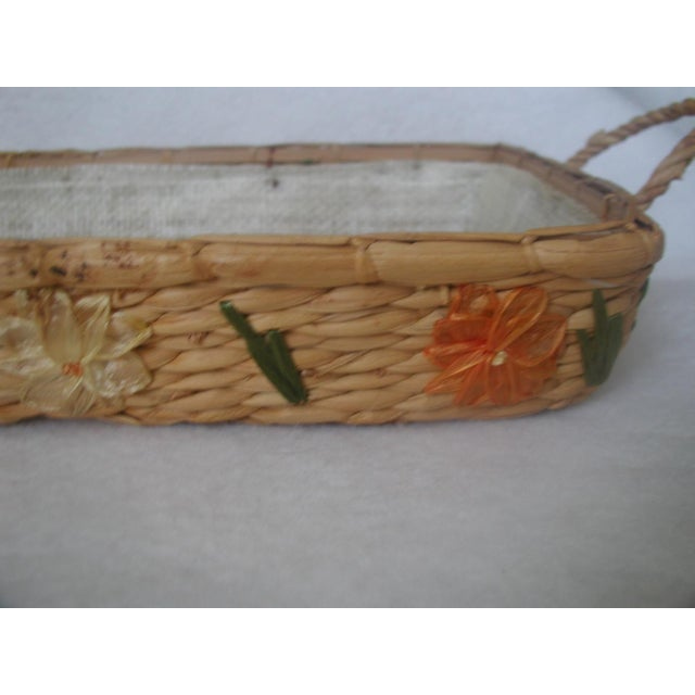 Italian Decorative Rattan Serving Carrier For Sale - Image 3 of 6