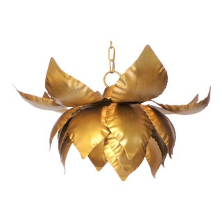 Vintage Brass Lotus Flower Pendant Light Fixture For Sale