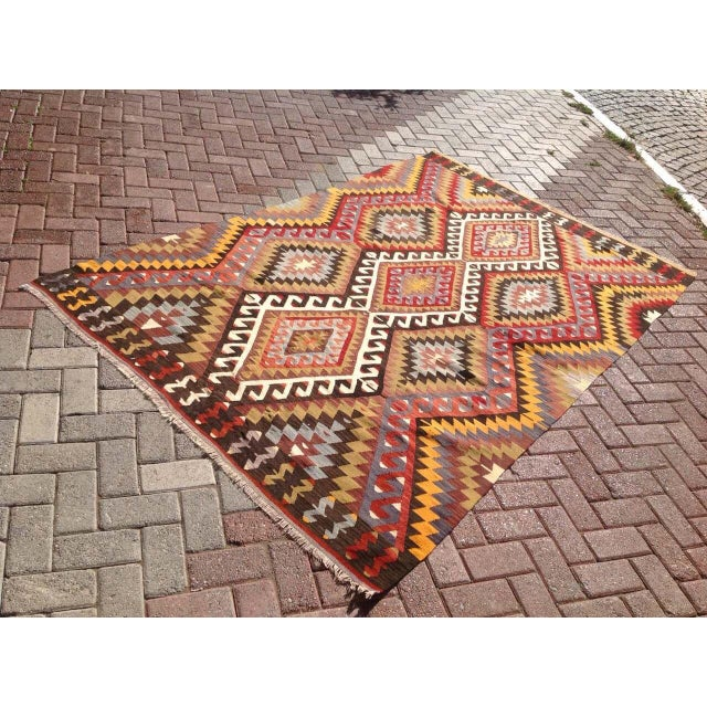 Islamic Vintage Turkish Kilim Rug - 5′5″ × 8′5″ For Sale - Image 3 of 7