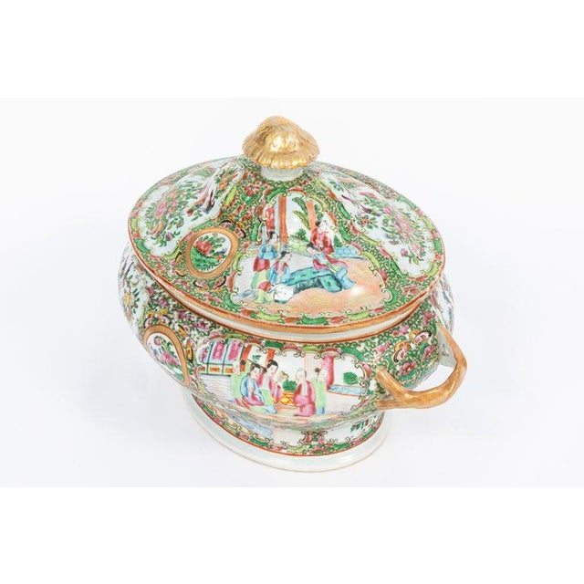 19th Century Rose Medallion Covered Tureen and Platter - 2 Pieces For Sale - Image 4 of 11