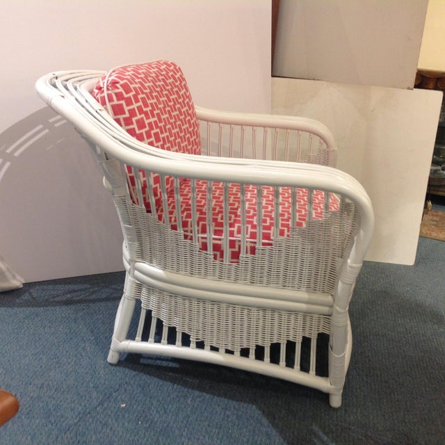 Boho Chic 1960s Mid-Century Modern Ficks Reed Painted Verandah Side Chair For Sale - Image 3 of 6