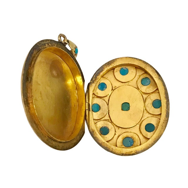 Traditional Victorian 18k Gold & Turquoise & Diamond Locket For Sale - Image 3 of 5