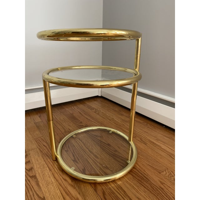 Hollywood Regency Brass and Glass Cocktail Tables - a Pair For Sale - Image 12 of 13