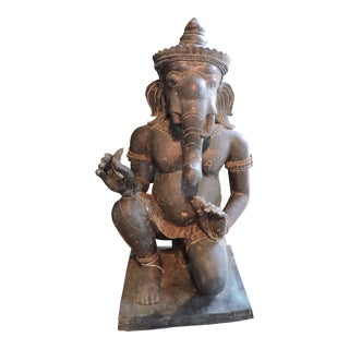 Bronze Cambodian Kneeling Ganesh For Sale