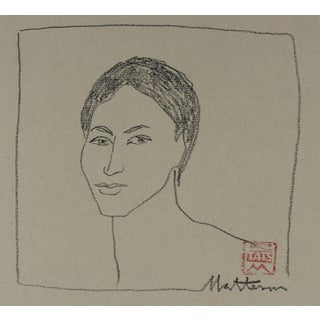 Rip Matteson Minimalist Portrait Drawing in Charcoal, 20th Century For Sale