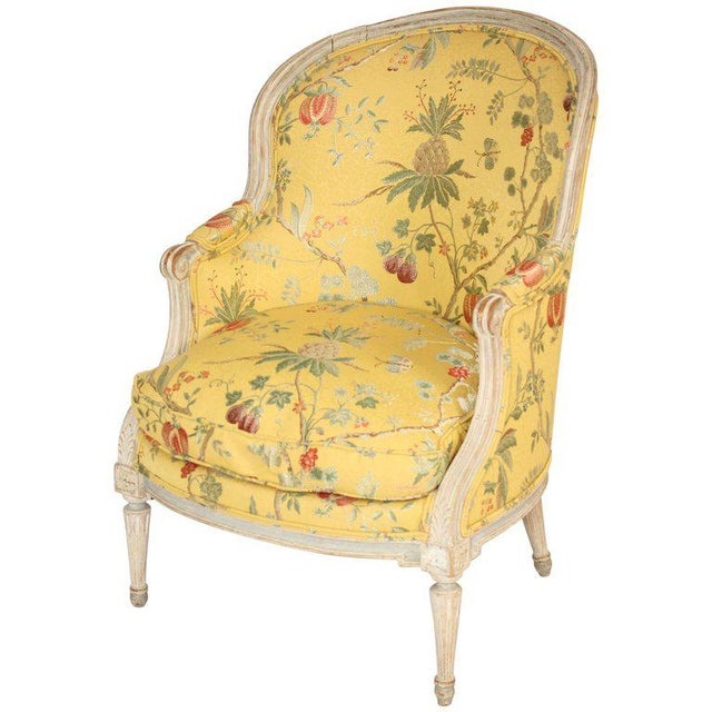 Antique Louis XVI Style Painted Bergere - Image 11 of 11