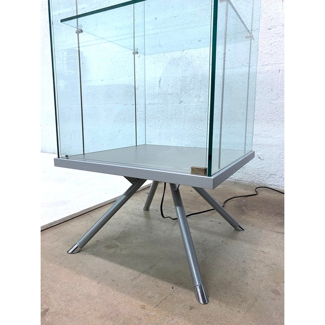 Metal Contemporary Glass Curio / Vitrine With Spot Lamp For Sale - Image 7 of 13