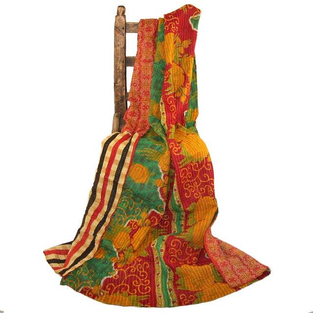 Vintage Red & Yellow Turkish Kantha Quilt - Image 3 of 3