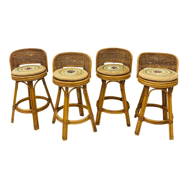 Set Vintage Bamboo & Wicker Stools For Sale
