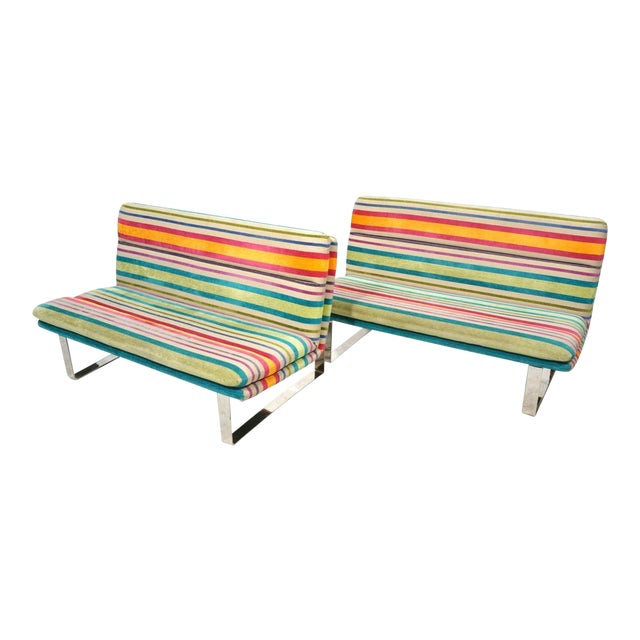 Set of 2 Kho Liang Ie for Artifort Awning Striped Chenille Sofas For Sale
