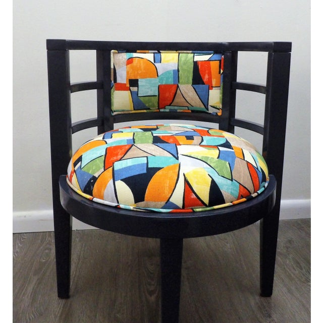 Stunning pair of Barrel Style Chairs in Crisp New Navy Lacquer Finish. The upholstery is also New, a modern abstract...