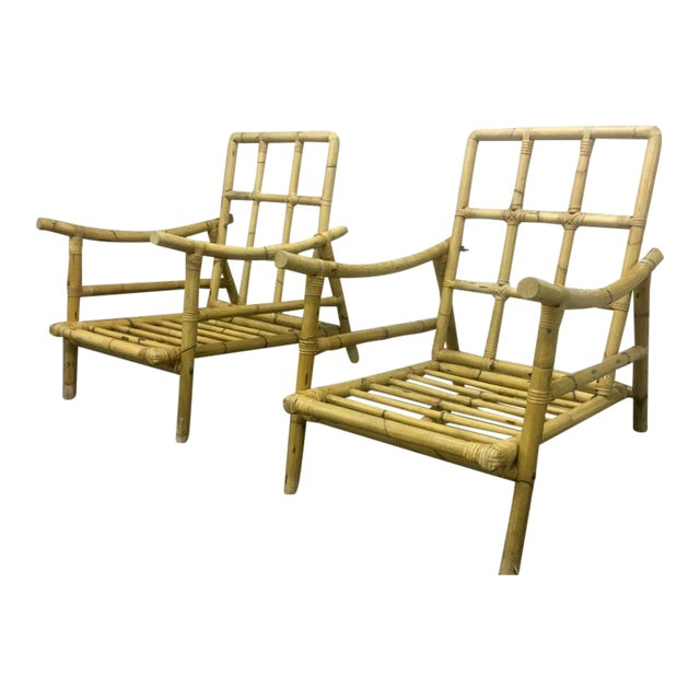Riviera Style Superb Pair of Bamboo Lounge Chairs For Sale
