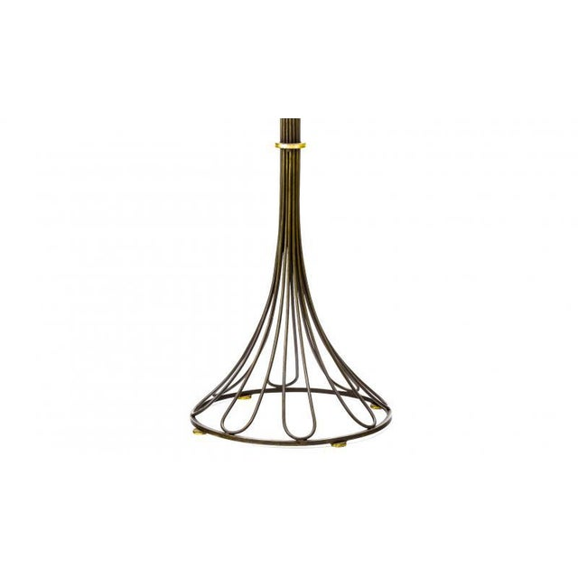 Gilbert Poillerat Gllbert Poillerat Documented Wrought Iron and Gold Leaf Floor Lamp For Sale - Image 4 of 5