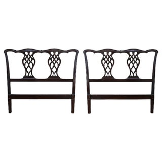 1960s Vintage Mahogany Chippendale-Style Headboards - A Pair For Sale