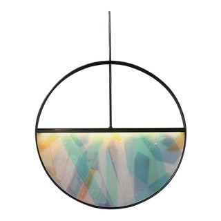 Phase Pendant in Contemporary Blackened Steel With Layered Resin Inlay For Sale