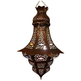 Turkish Moroccan Handmade Copper Finish Multi-Color Glass Metal Lantern