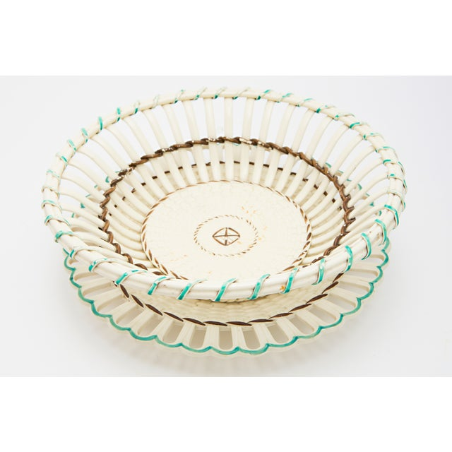 French Creamware Round Basket With Underplate - Image 2 of 4