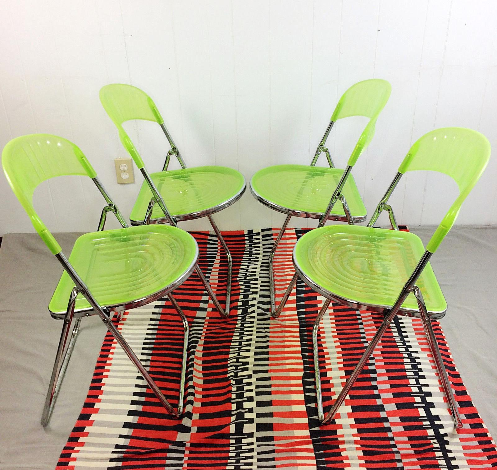 Mid Century Italian Lime Green Acrylic Chrome Folding Chairs   Set Of 4    Image