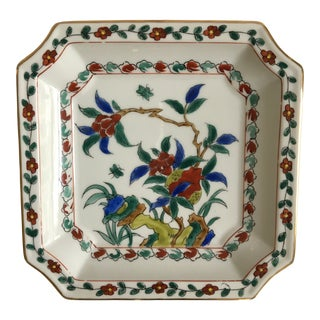 Mid-Century Porcelain Clipped Edged Gold Rimmed Floral Chinoiserie Tray For Sale