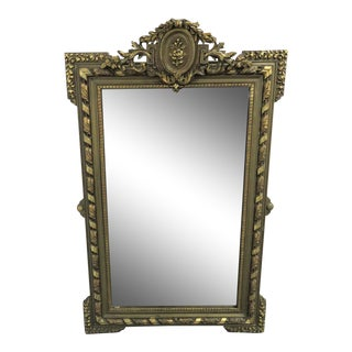 Antique French Floral 2 Tone Gold Gilt Mirror For Sale