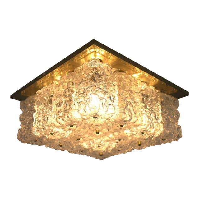 One of Four Square Wall Sconces or Flush Mount Lamps Glass and Brass by Limburg For Sale