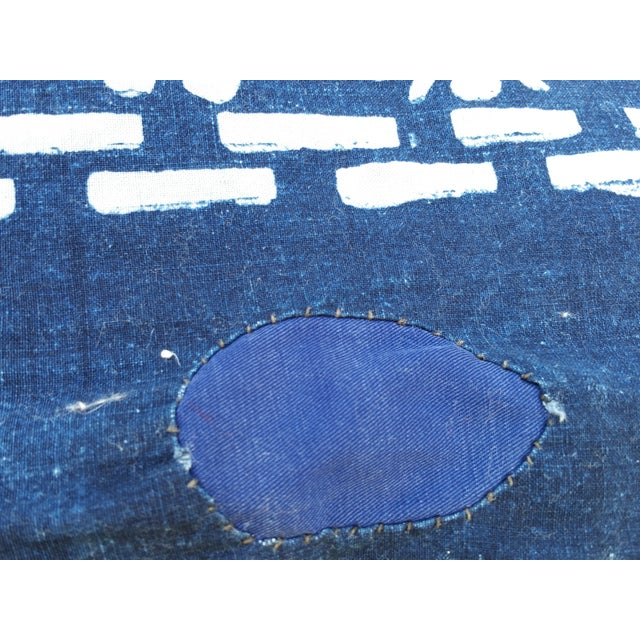 1920's Hand Batik Indigo Table Runner For Sale - Image 5 of 5