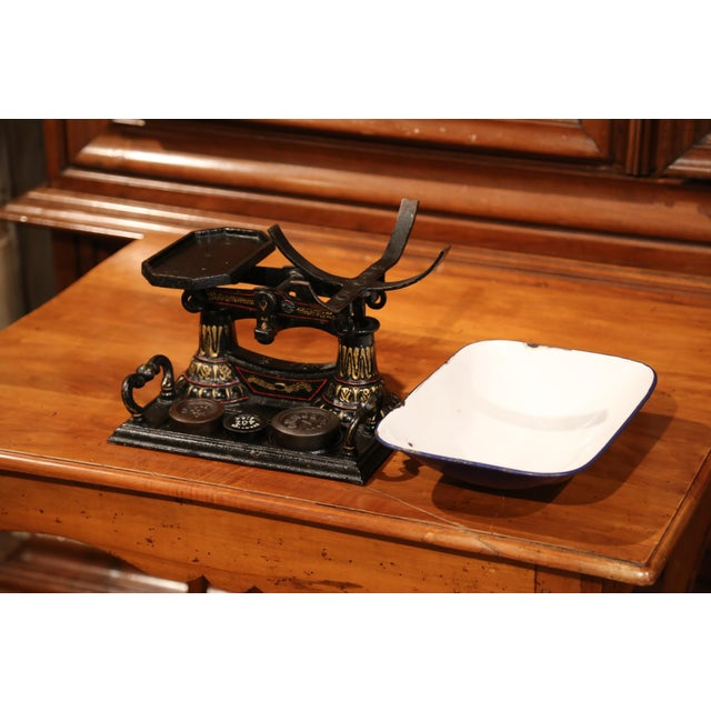 English 19th Century English Painted Iron Scale With Weights For Sale - Image 3 of 8