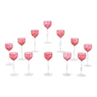 12 Baccarat Cranberry Art Nouveau Hock Wine Goblets with Intaglio Cut Decoration For Sale
