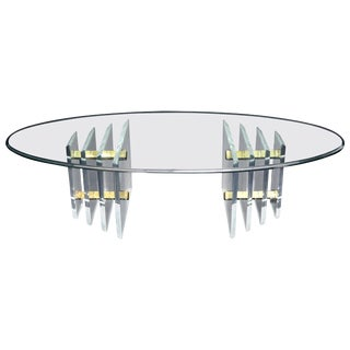 Double Lucite Pedestal Oval Glass Top Coffee Table For Sale