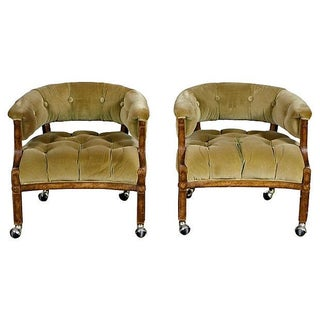 1960's Barrel-Shaped Lounge Chairs - Pair For Sale