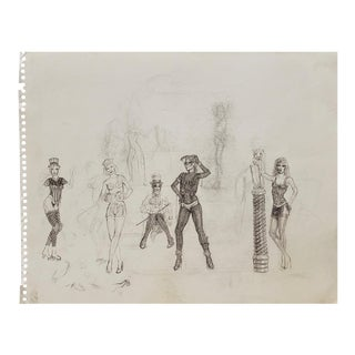 1960's Pin-Up Fashion Girls Sketches For Sale