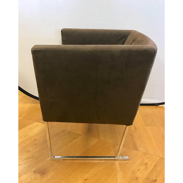Gorgeous brown suede cubed armchair designed by Antonio Citterio for B&B Italia. Vendor hallmarks are etched into back...