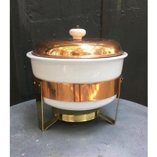 1960s Mid-Century Metalutil Copper/Ceramic Warming Serving Set Preview