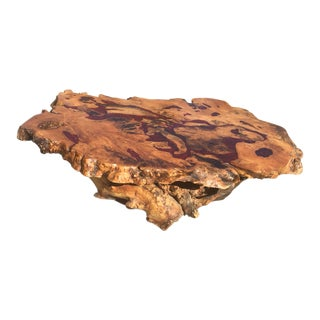 Live Edge Free Form Burl Wood Table With Red Glass & Epoxy