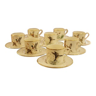 1950s Demitasse Set With Game Bird Motif For Sale