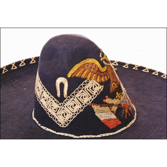 Early Mexican Navy Blue Embroidered Sombrero - Image 8 of 11