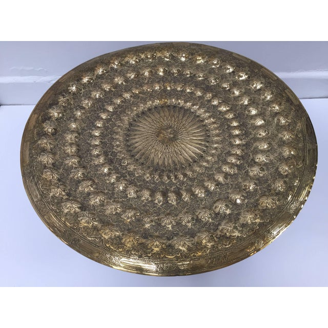 Indo Persian Brass Metal Tray Table For Sale In Los Angeles - Image 6 of 13
