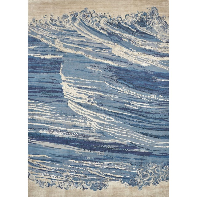 """Blue Contemporary Schumacher Patterson Flynn Martin Antalya Hand-Knotted Wool Silk Rug - 9' X 12'4"""" For Sale - Image 8 of 8"""