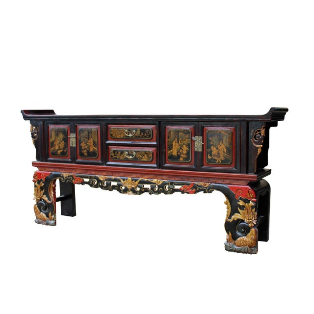 2000 - 2009 Chinese Fujian Golden Graphic Sideboard Console Table Tv Cabinet For Sale - Image 5 of 10