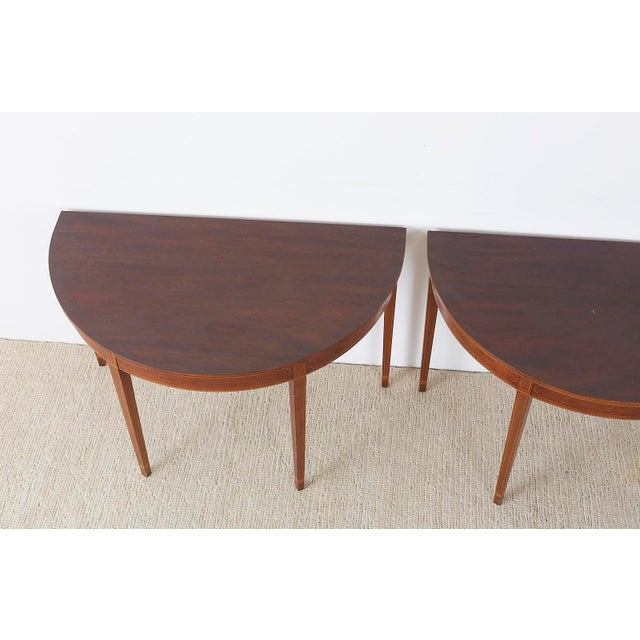 Early 20th Century American Hepplewhite Style Demilune Console Tables - a Pair For Sale - Image 5 of 13