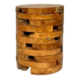 Image of Live Edge Burl Wood Drink Table For Sale