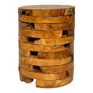 Live Edge Burl Wood Drink Table For Sale