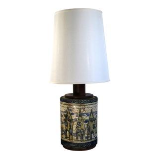 Danish Mid Century Modern Wood & Ceramic Table Lamp with Original Shade & Finial